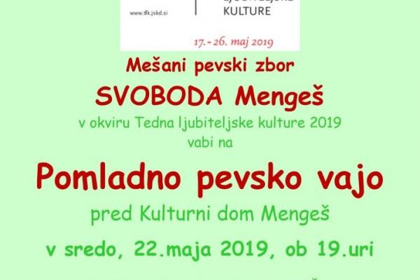 vabilo Pomladna pevska vaja 22.5.2019